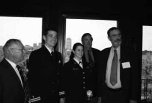 MA - OFPA Spring Luncheon: Governor Henry Peach, Lt. Christopher Peters, Midshipman Moira Molloy, Secretary David Chester and Chaplain David Gray.